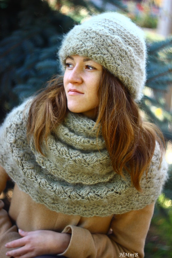 Crochet Pattern Toddler Child And Adult Sizes Hat Cowl Set