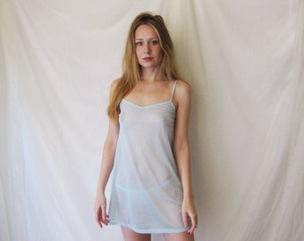90s Powder Blue Mesh Nightie XS S M
