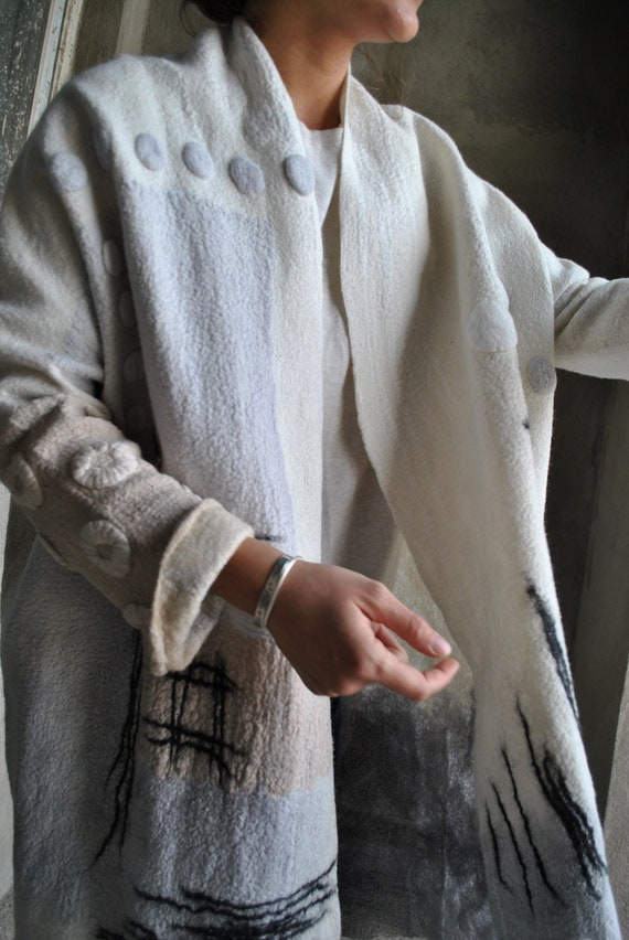 her coat coat Felted Designer Woolen clothes Eco Felted for Felted fashion Gift Felted wrap coat apparel jacket Unusual tqAwxCYZ