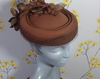 1980s Hat Chocolate Brown Pillbox Hat With Veil and Flowers Kangol Derby Church Hat