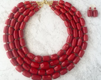 Large High Quality 4-Tier Coral Necklace