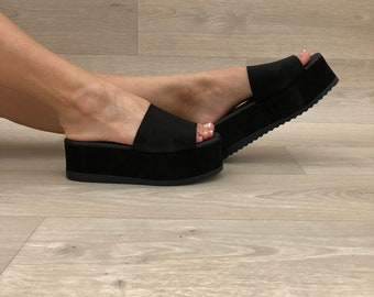 Black Leather Sandals, Black Sandals, Leather Slides Sandals, Women's Sandals, Greek Sandals, Women's Sandals, Made from Suede Leather.