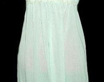 Vintage Nightgown M Nightie Mint Green White Striped Silky Lace