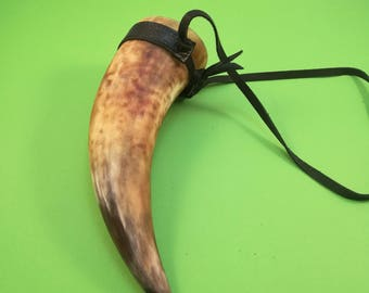 Viking Drinking Horn with leather upholstery