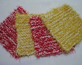 "Handmade Dish Scrubbies Scrubbers, 2 Red 2 Yellow, 4.5"" (6115)"