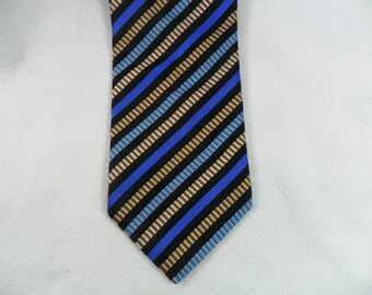 Zanetti Tie Cravatte Italy Pure Silk Vintage Gold and Blue Stripe Men's Neck wear 58 x 3.75 The Crazy Tie Guy T446