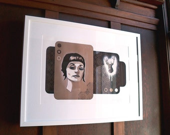 Giclee print by Andy McCready - 'DOE EYED' - Limited edition, large, brown, deer, tan, girl. Prints by giltandenvy on Etsy.