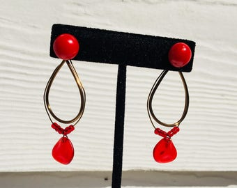 Coral red sea glass and bronze earring jackets with coral red vintage studs