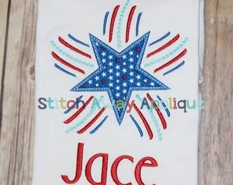 Patriotic Fireworks Star Machine Applique Design