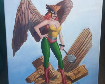 Hawkgirl Oil Painting