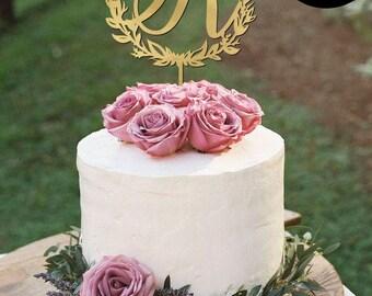 Letter R Monogram Wedding Cake Topper, Gold Monogram Cake Toppers, Initials Wedding Cake Topper, Personalized Gold Monogram Cake Topper