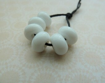 handmade lampwork white glass spacer beads, UK set