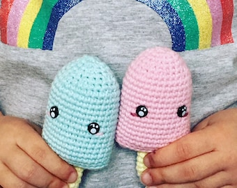 ice popsicle popsiclesice cream pink or blue crochet amigurumi kawaii