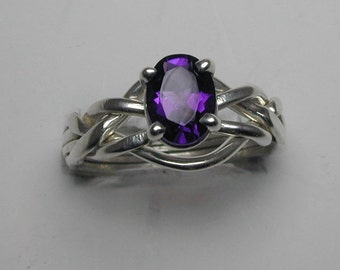 Ladies Gold or Sterling Silver 4 Band Puzzle Ring set with Amethyst Stone