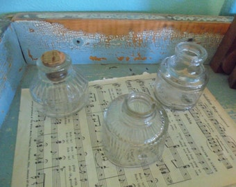 Collection of 3 old ink bottles