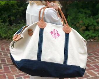 Monogrammed Weekender- Canvas Weekender Bag- Christmas Gift- Bridemaid Gift- Monogrammed Duffle Bag
