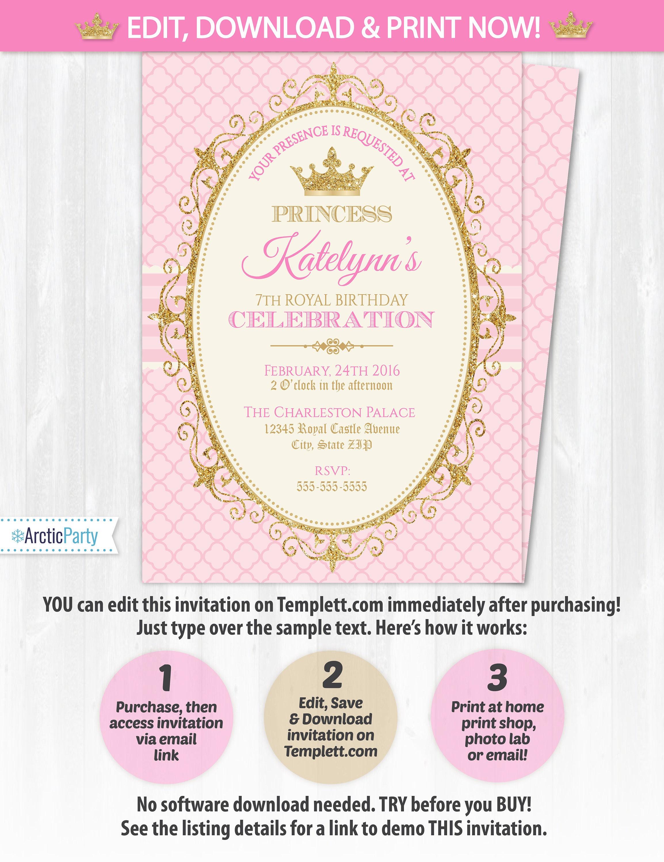 Princess Invitations Princess Birthday Party Invitations