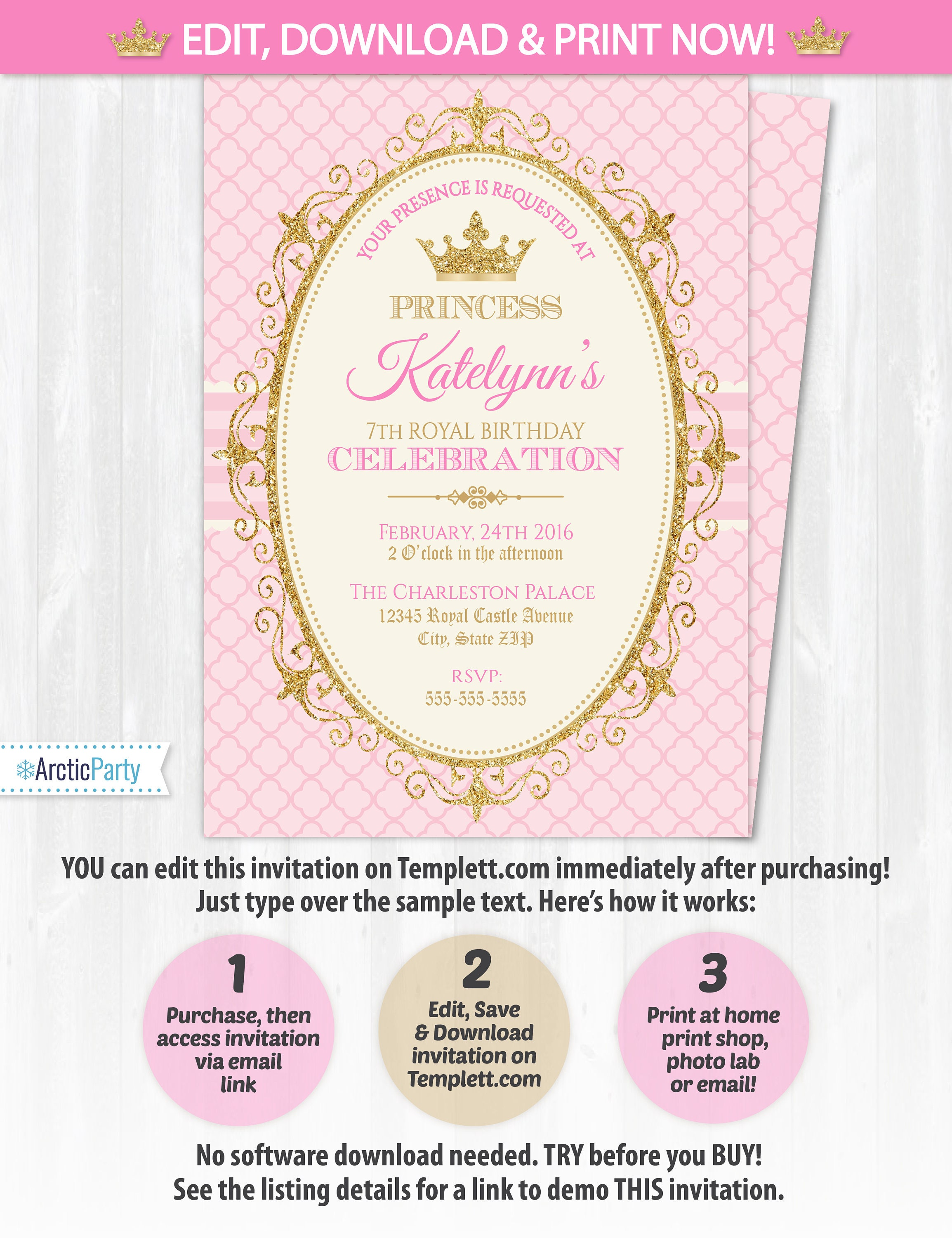Princess invitations princess birthday party invitations zoom stopboris