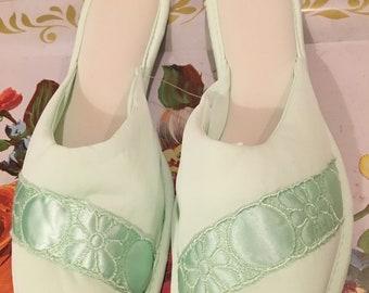 Lorraine 1960's peep toe slippers