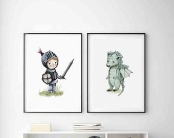 Knight print, Dragon print, boys room decor, Nursery Decor, Kids room decor, baby shower boy, boys room wall art, boy baby shower