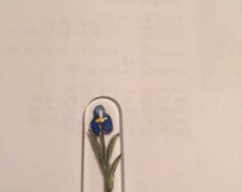 "Czech Glass Nail File Hand Painted with Iris Mini 3 1/2"""