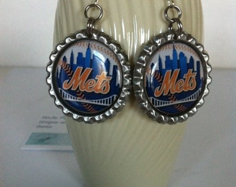 New York Mets Earrings, New York Mets Baseball Earrings, New York Mets Jewelry, Handmade Gift for Mets Fan, Mets Clip On Earrings