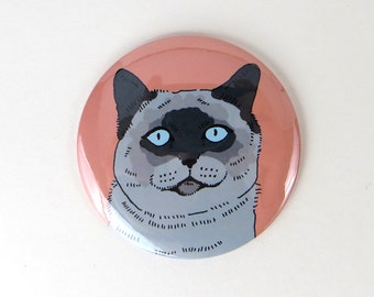 Cat button, seal point cat magnet, Siamese cat magnet, cute cat button magnet, funny face cat