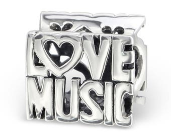 BUNCHABEADS LOVE MUSIC Talking Bead Word Charm 925 Sterling Silver - BD2324