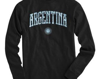 LS Argentina Tee - Long Sleeve T-shirt - Men and Kids - S M L XL 2x 3x 4x - Argentina Shirt, Argentine - 4 Colors