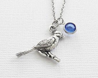 Cardinal Necklace Bird Red Cardinals Baseball Saint Louis Team Friend Gift Birthday Gift Silver Jewelry Swarovski Channel Crystal Birthstone