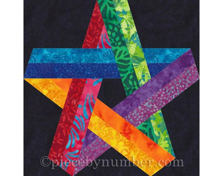 Pentagram Star Quilt Block Pattern Paper Pieced Quilt Pattern