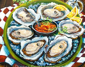 Raw Oysters, Louisiana Oysters, New Orleans Seafood Painting,New Orleans Food Art, New Orleans Painting GICLÉE Canvas or Print FREE SHIPPING