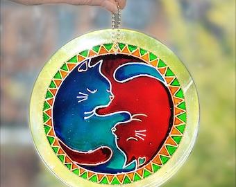 Yin Yang Cat Sun Catcher Roundel / Cat Lover Feng Shui Gift / Hanging Garden Art Ornament / Cute Cat Couple Window & Garden Suncatcher