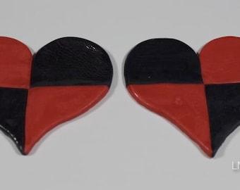 Red & Black Fondant Checker Valentines Hearts
