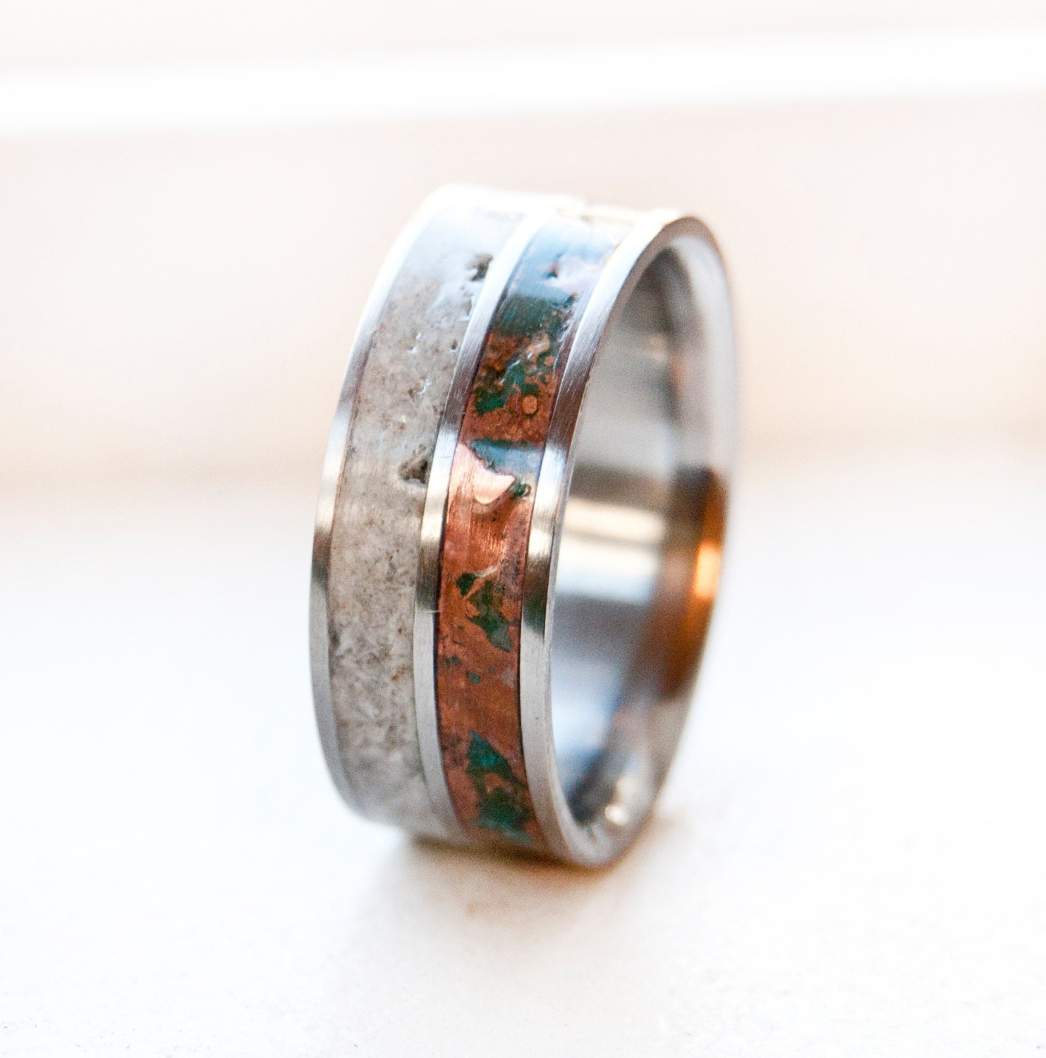antler maple rings band spalted patina wedding elk copper and bandantler pin featuring