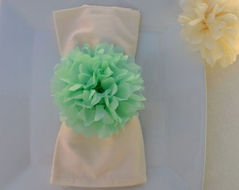 Baby Shower Decor -20 Tissue Paper Flower Napkin Rings .... Any Color... baby shower decoration, napkin rings, bridal shower decor