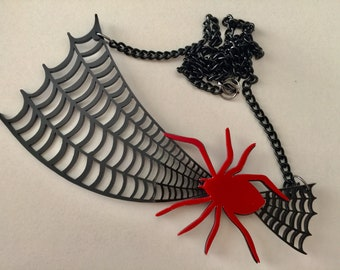 Spider Web Acrylic Necklace