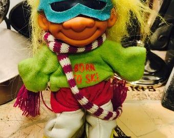 "Vintage Russ Berrie 4.5"" Born To Ski Troll Doll"