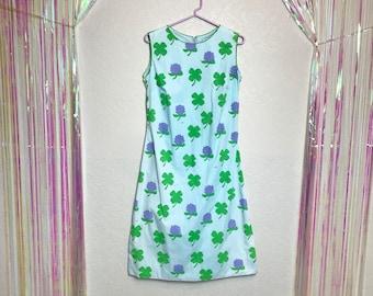Vintage 1960s Clover and Floral Print Vested Gentress Shift Dress
