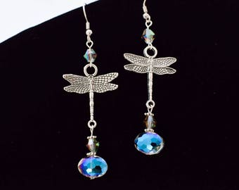 Dragon Fly Iredescent Crystal earrings, crystal  earrings, elegant earrings, earrings for her