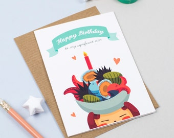 """Birthday card for my Significant """"Otter"""" Love card (Teal Blue)"""