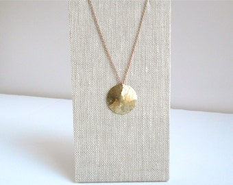 Hammered brass necklace, Brass disc necklace, Hammered pendant, Brass jewelry, Simple round pendant necklace, Hammered disc, Gift under 50