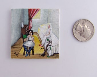 Collectable Tiny Miniature Acrylic Original Painting on Canvas Relationship between Man and Woman Philosophy