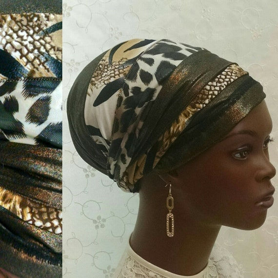 NEW*** Golden beauty animal print sinar tichel, tichels, head wrap, head scarf, hair covering, hair snood, Jewish head covering, chemo scarf