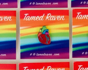 Gay Pride Pin Rainbow Anatomical Heart Enamel Pin Ready to Ship LGBTQ Gay Pride Rainbow Pride