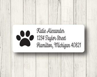 Paw Print Address Labels - Custom Return Address Mailing Labels - Dog - Cat - Animal - Panther - Matte White, Kraft, or Clear Gloss