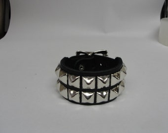 "Handmade 1-1/2"" - 38 mm Wide Genuine Black Leather studded Wristband with Silver/Chrome Buckle & Pyramid Studs bracelet Rock Made in U.S.A."