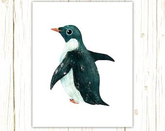 Adelie Penguin Print -- bird art -- colorful bird art by stephanie fizer coleman illustration