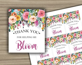 Thank You For Helping Me Bloom - Tag - Thank You Tags - Teacher Appreciation - Teacher - Gift - Tag - INSTANT DOWNLOAD - PRINTABLE - L11