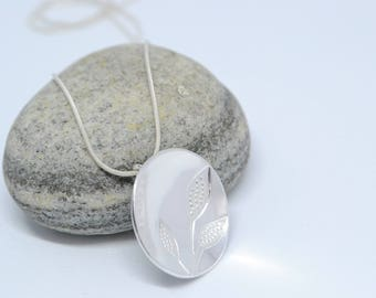 Round silver pendant, sterling silver necklace, leaves silver necklace, unique jewellery, eco gift, recycled silver